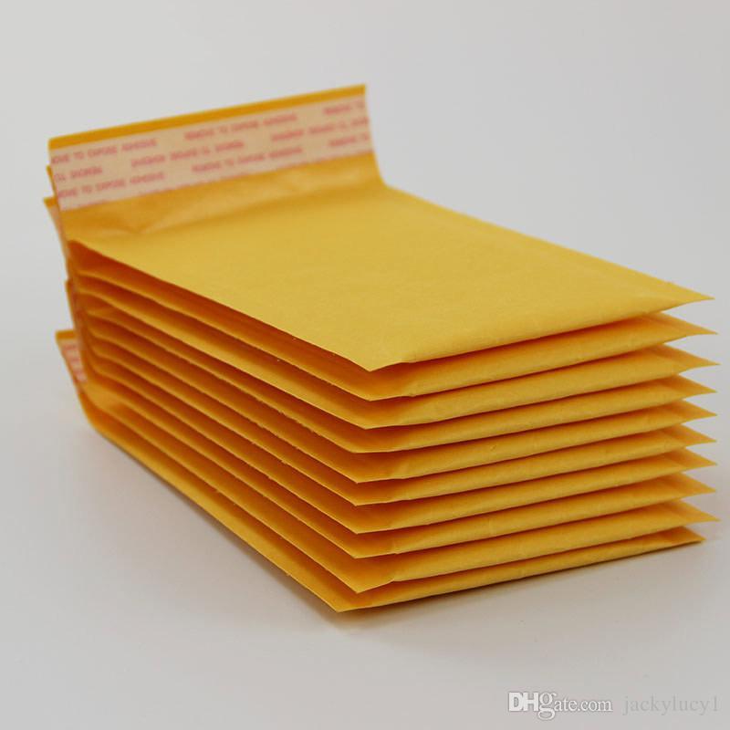100 قطع العديد من الأحجام الأصفر كرافت فقاعة البريد المغلف أكياس فقاعة الارسال مبطن المغلفات تغليف أكياس الشحن