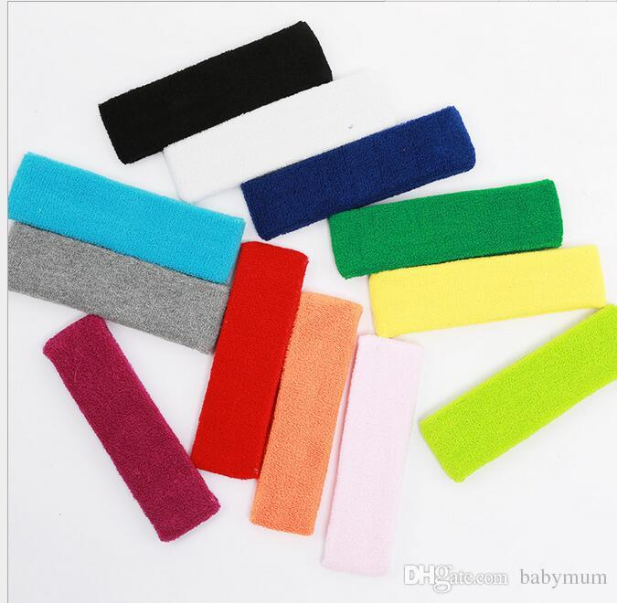 Cotton Women Men Sport Sweat Sweatband Headband Yoga Gym Stretch Head Band Hairband wrap Stretch Bandanas