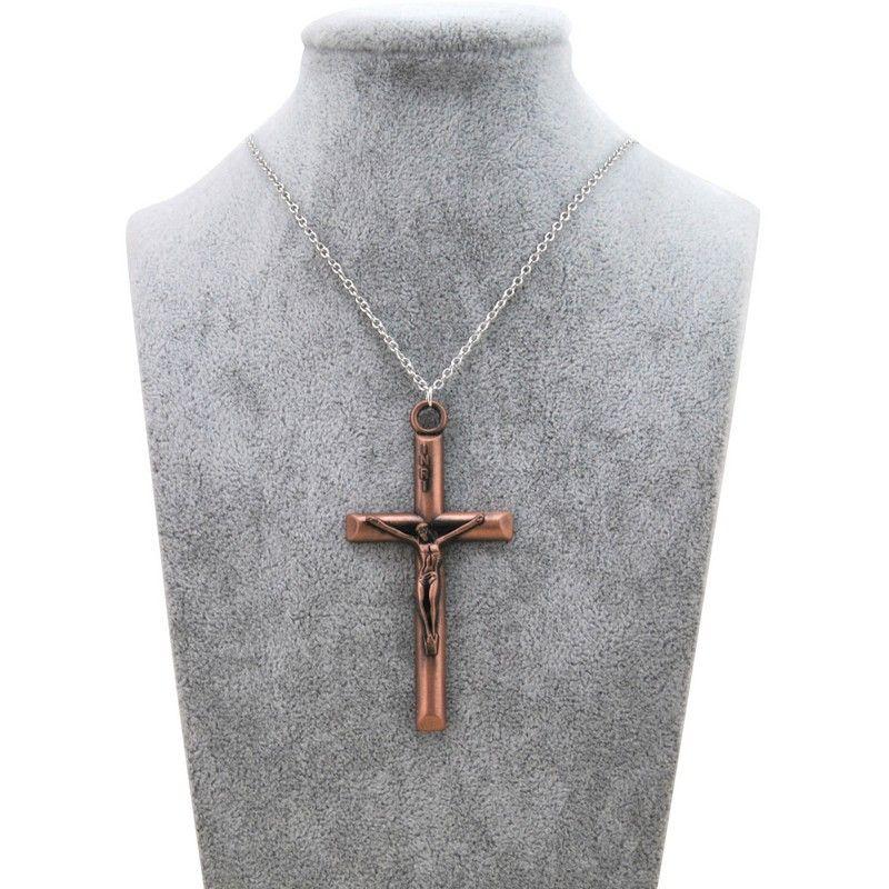 Girocollo Collana originale nuovo retro Croce di Gesù donne d'argento INRI crocifisso di preghiera Catena Collana Uomini Maschio Christian gioielli regalo