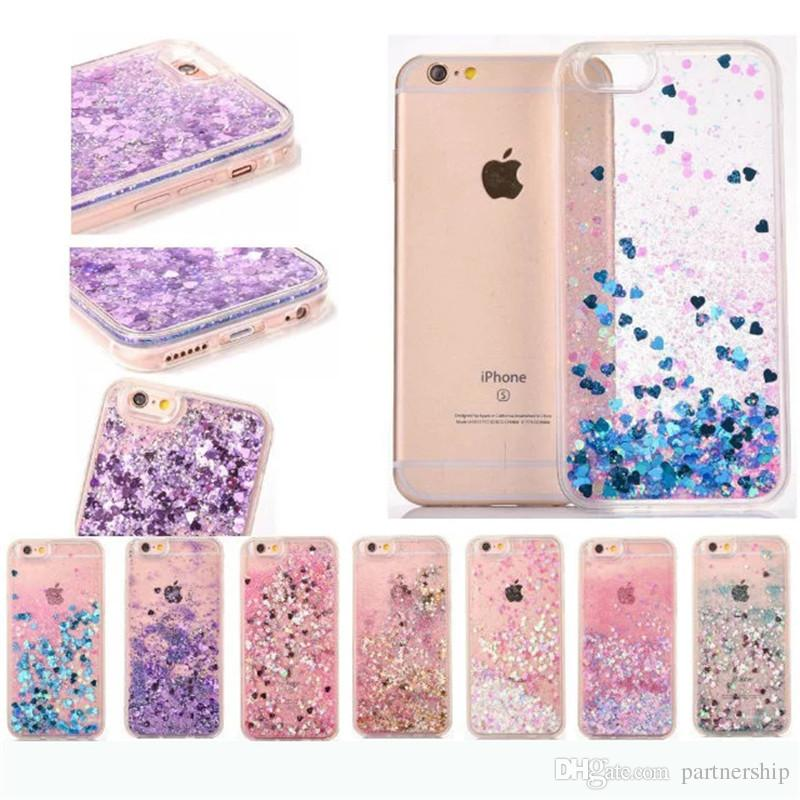 6ddd073199 Phone Case For Iphone 7 7 Plus 6 6S Plus 5 5S SE Hot Love Heart Glitter  Stars Dynamic Liquid Quicksand Soft TPU Frame Phone Back Cover Fashion Cell  Phone ...