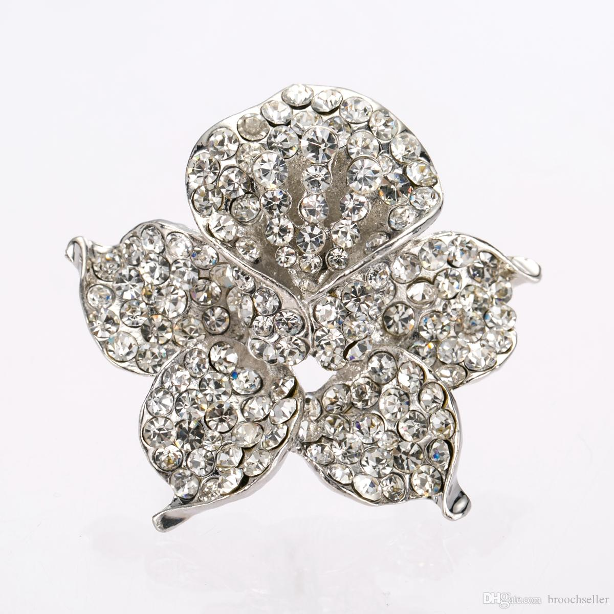 Rhodium Silver Clear Rhinestone Orchid Flower Bridal Brosch Bröllop Bridesmaid Rose Pin Prom Party