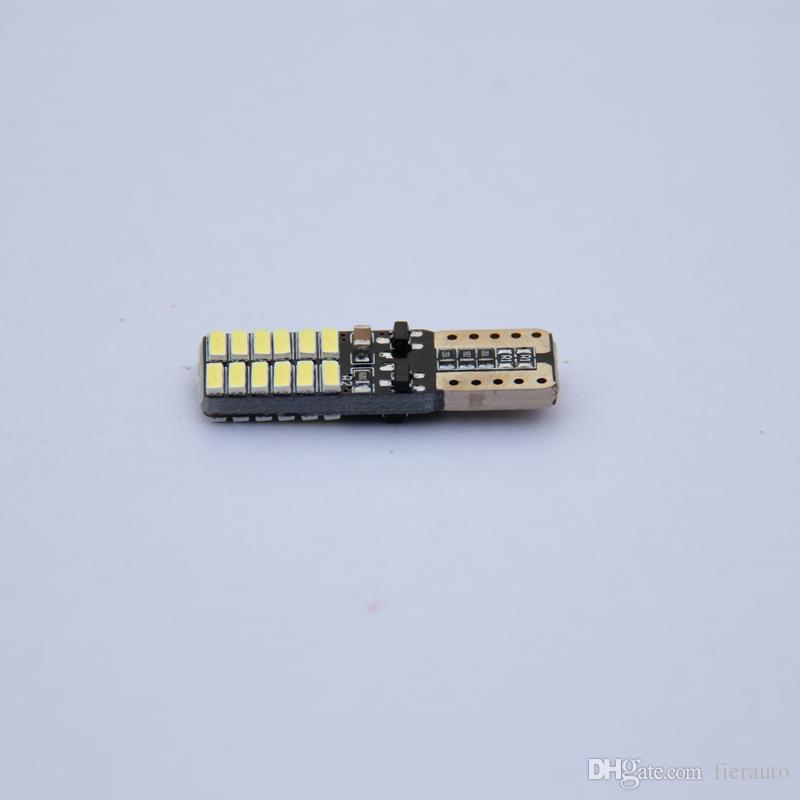 lampadine DHL 1000 pezzi 12V No polarità Canbus T10 LED con 4014 SMD 24 LED Luce interna 194 168 W5W bianco LED LAMP