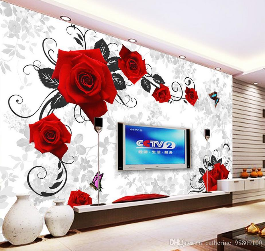Red Rose 3D Mural Photo Wallpaper Decor Large Paper Wall