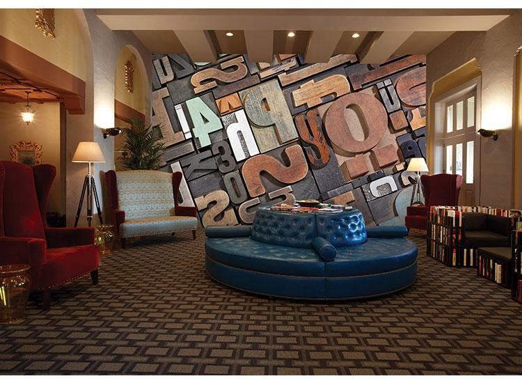 Customized KTV Bar Wallpaper Cafe Mural Living Room Restaurant Vintage Wallpaper 3D Wood Block Personality Letter