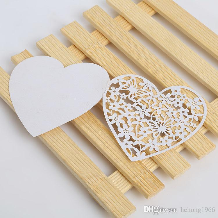White Blessing Card Heart Shape Hollow Out Design Greeting Cards