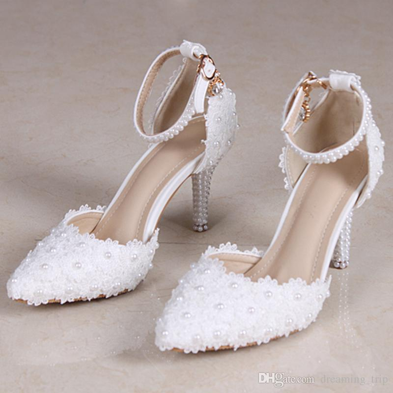 Bridal Shoes For Cheap: White Lace Pearls Cheap Wedding Shoes With Buckle Strap