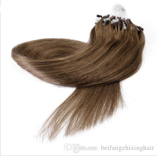 5a Malaysain Human 16-26'' Micro Loop Hair Eextensions 1g/s 100g Straight Extensions 8# medium golden brown micro rings Loop Hair Extensions
