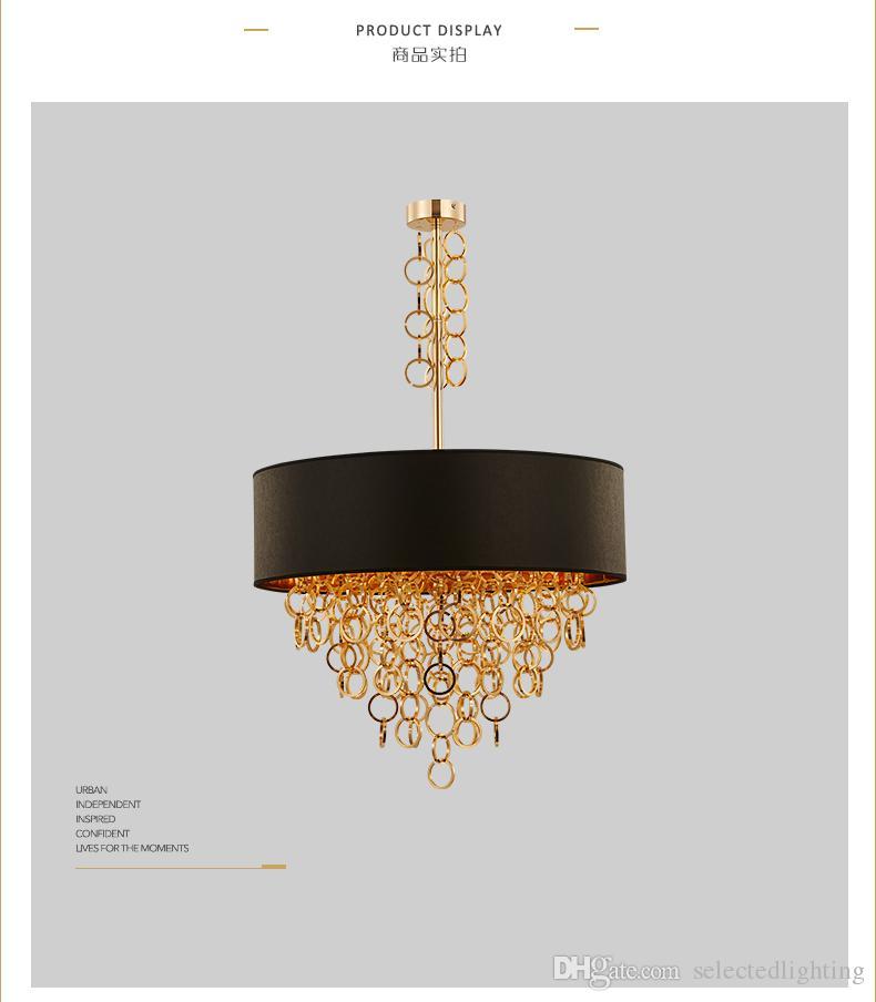 Moderne Kronleuchter mit schwarzer Trommel Shade Pendelleuchte Gold Ringe Tropfen in Runde Deckenleuchte