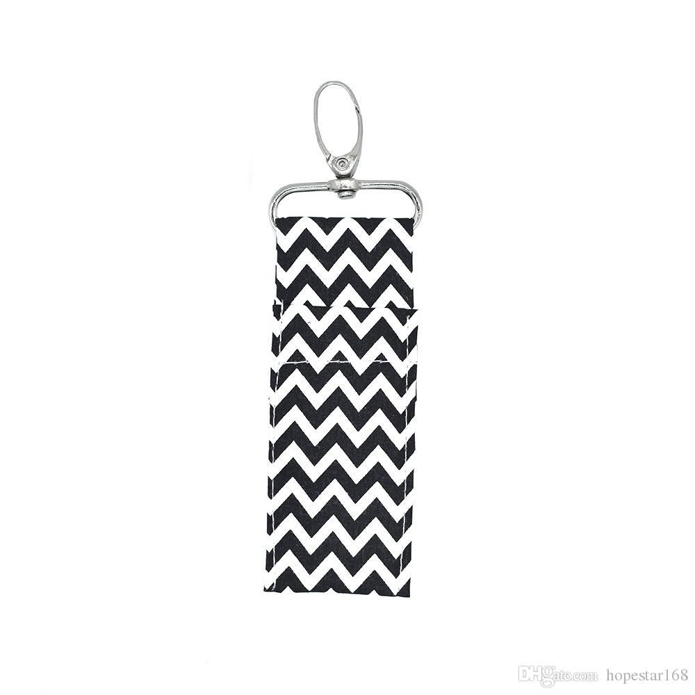 Moda Yeni Chevron Ruj Chapstick Tutucu Anahtarlık Dudak Çanta Renkleri Monogram Çoklu Chevron Anahtar FOB Dudak Palmiye Tutucu Ücretsiz Kargo