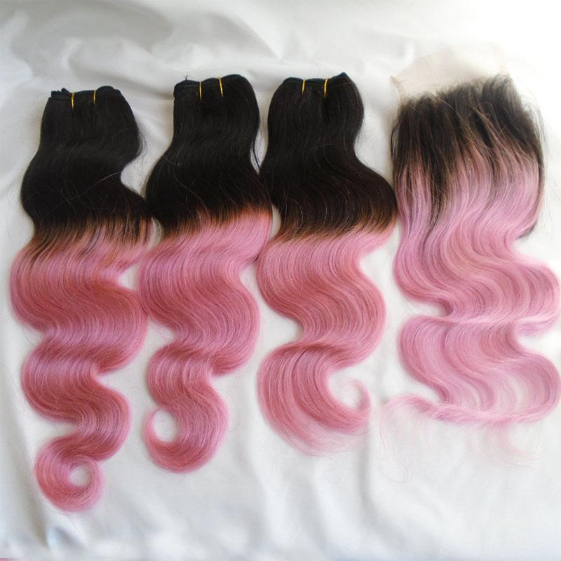 Ombre Human Hair Bundles With Lace Closure T1b Pink Brazilian Virgin Hair 3 Bundles And Top Closure Two Tone Body Wave Double Weft