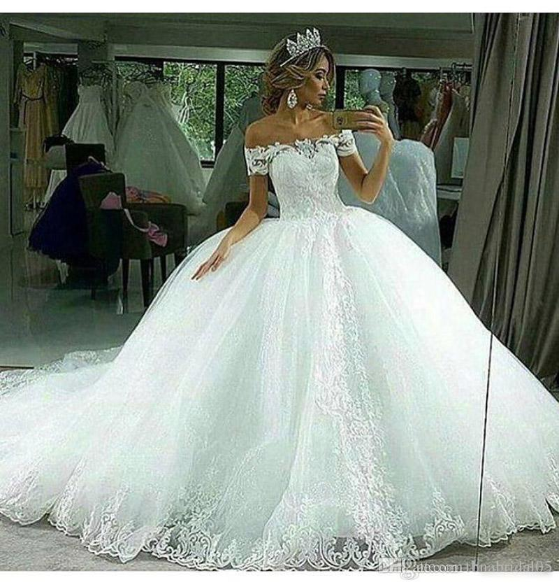 Elegant Off The Shoulder Ball Gown Wedding Dresses 2017 Lace Appliques Bridal Gowns Corset Back Vestido De Noiva From China