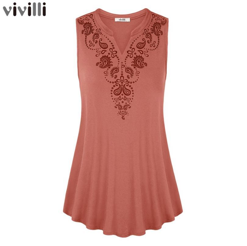 Vivilli Été 2018 Sans Manches T-shirt Solide V-cou Femmes Tops Vintage Floral Imprimer Longue Chemise Casual Gilet Femme Tricoté T-shirts