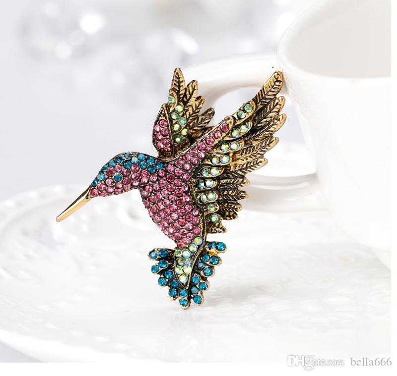 Fashion Alloy Colorful Rhinestone Woodpecker Brooches Pin Ornaments Animal Corsage Jewelry Clothing Scarf Buckle Suit Accessories