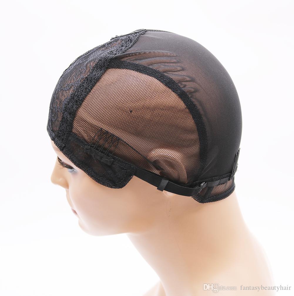 DIYDIY doppio merletto parrucca tappi fare parrucche e capelli tessitura stretch regolabile parrucca cappuccio caldo nero cupola cap parrucca netto dei capelli