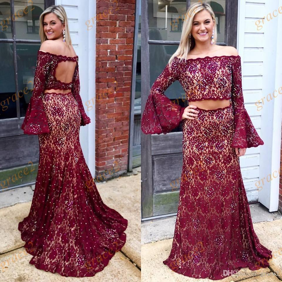 Burgundy Prom Dresses 2017 With Long Bell Sleeves And Keyhole Back ...