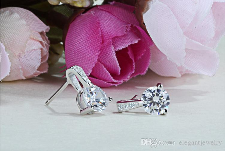 925 Sterling Silver Stud Earrings for Women Jewelry Fasihon Earrings CZ Diamond Earrings Neutral style N43