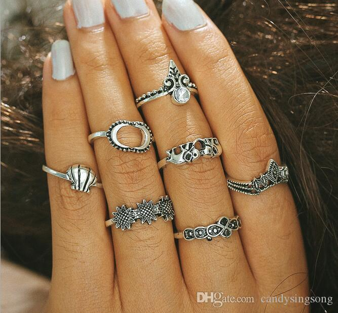 European-America retro style rings set sunflower shell elephant crown moon hand joint rings all-matched silver band ring