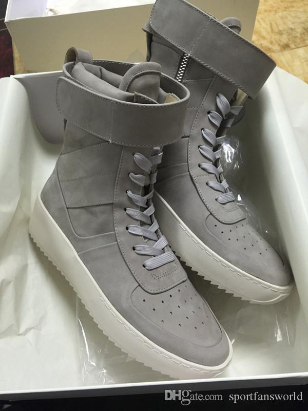 info for daa01 d12e7 DHL Free Size 34-46 Fear of God Military Sneaker Dark Grey Jerry Lorenzo  Grey leather Numbuck Fog Made In Italy military boots Winter boots