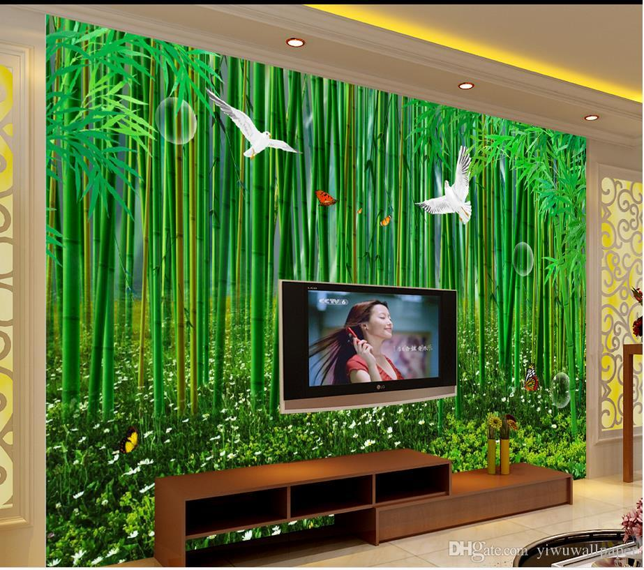 Home Decor Living Room Natural Art High Definition Bamboo Forest Hand Painted Fresh Background Wall Widescreen Wallpapers Hd