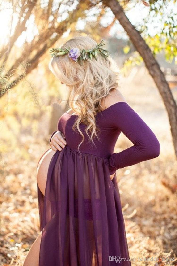 Vestido de chifón de maternidad de nueva llegada Vestido delantero con abertura de fotografía para sesión de fotos