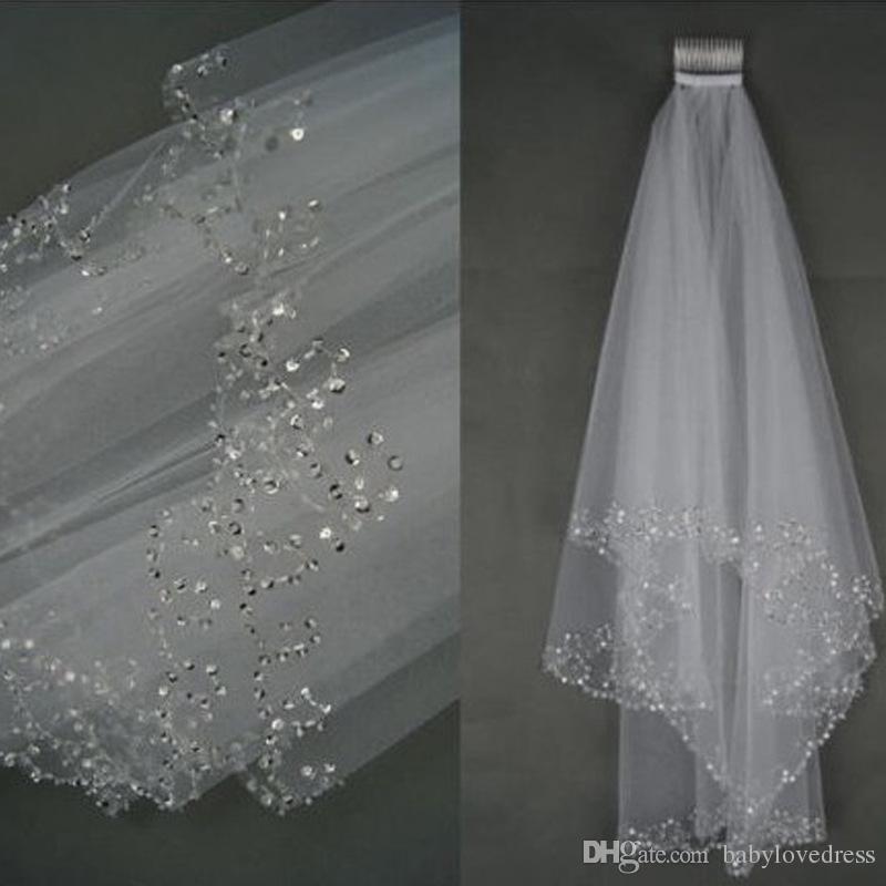 Heißer Verkauf 1,5 Meter Zwei Schichten Pailletten Perlen Rand Günstige Brautschleier Mit Kamm Weiß Elfenbein Weichen Tüll Schleier Für Hochzeit