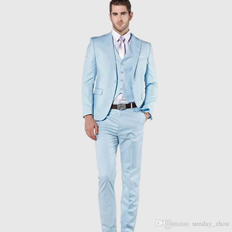 2017 Light Blue Men Suits High Quality Wedding Suits Tuxedos For ...