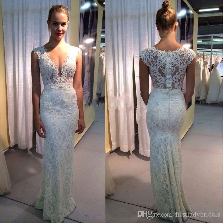 2017 Reception Sheath Deep V Neck Wedding Dresses Lace Sexy Illusion