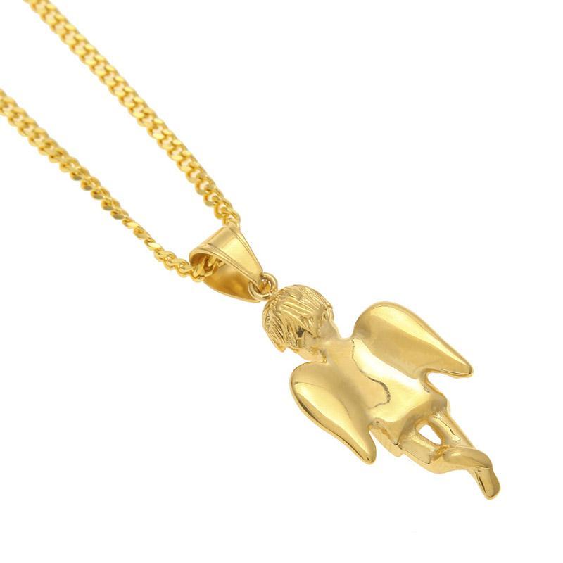 Placcato oro mini angeli in titanio ciondolo Micro collana di gioielli Angelbaby gioielli da donna Hip Hop Charm