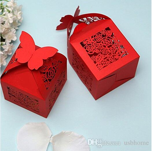 Rose Laser Cut Wedding Favors Candy Boxes Gifts Box Marriage Party ...