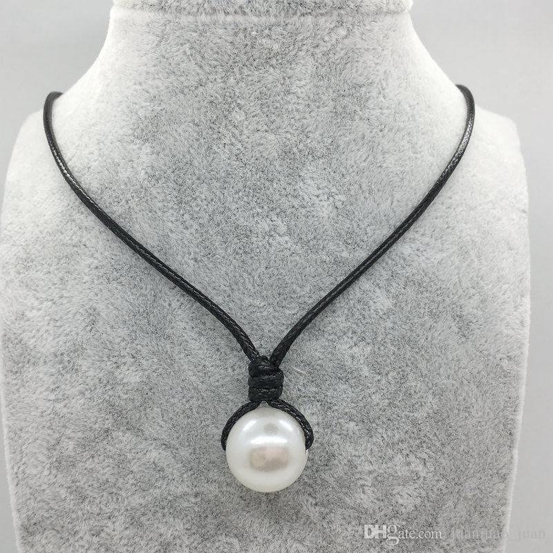 Ручной работы один жемчуг кожа колье ожерелье на подлинной черный коричневый кожаный шнур для женщин мода имитация природных пресноводных Жемчужина