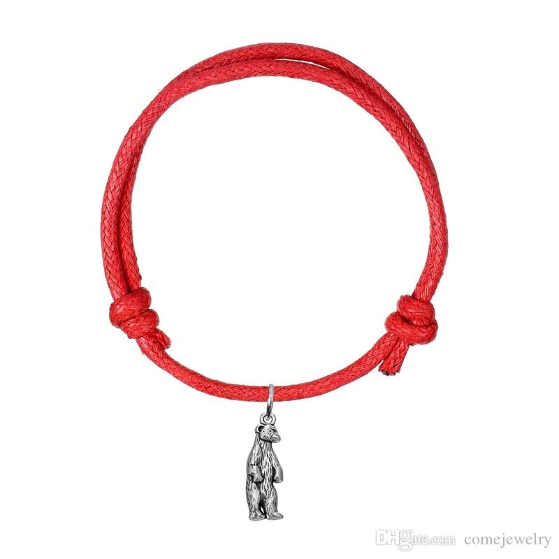 Adjustbale Korean Wax Cord Bracelet Antique Silver Standing Bear Charm Bangle Bracelet Cuff Wristbands High Quality Gift Jewelry