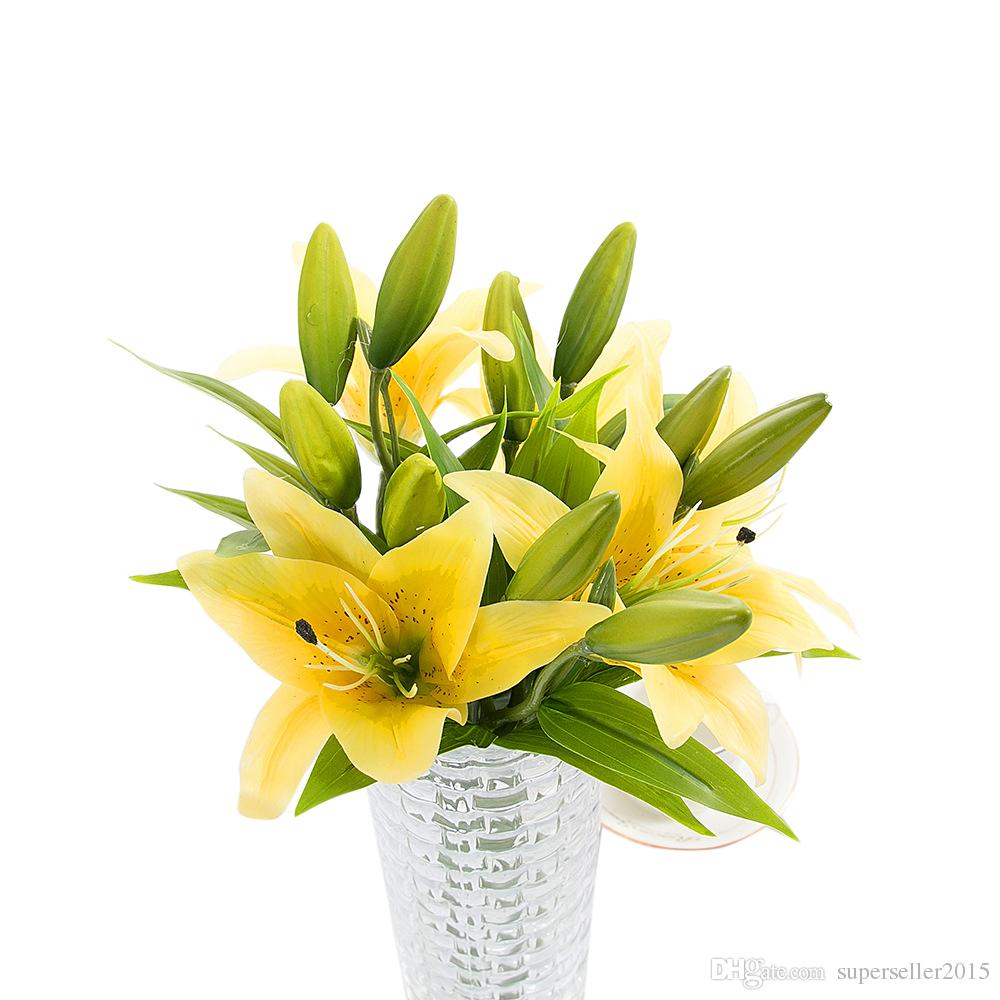 2018 Pve Artificial Flower Lily Wedding Garden Home Party Decorative