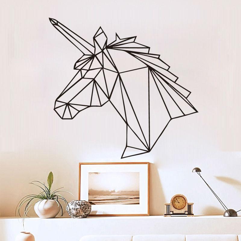 geometric unicorn wall sticker removable horse head vinyl decals