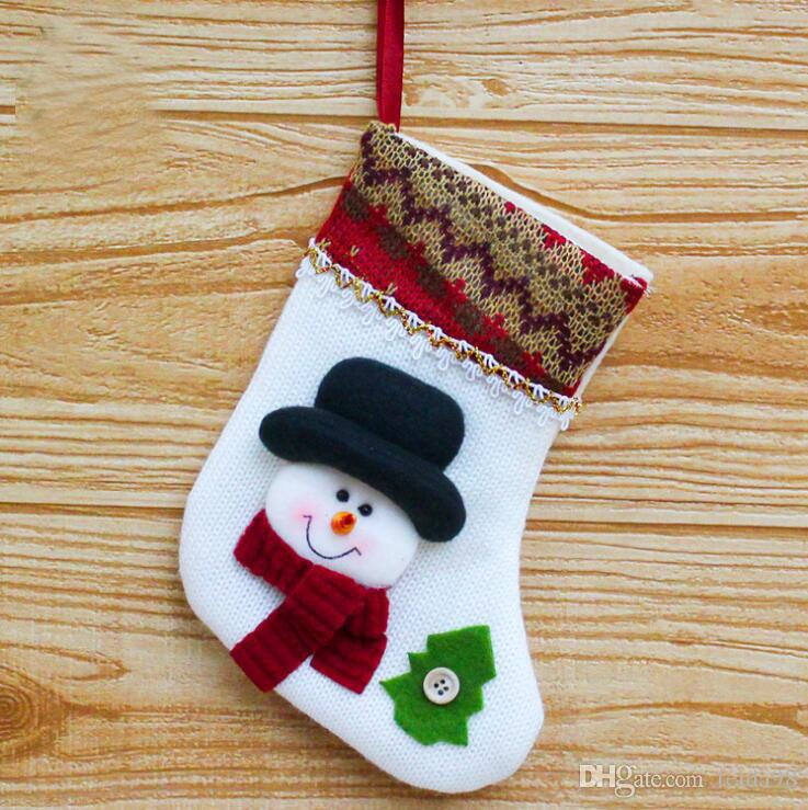 Calcetines Colgante de Navidad Bolsa de Regalo Decoración de Navidad Año Nuevo Árbol de Navidad Decoración G1116