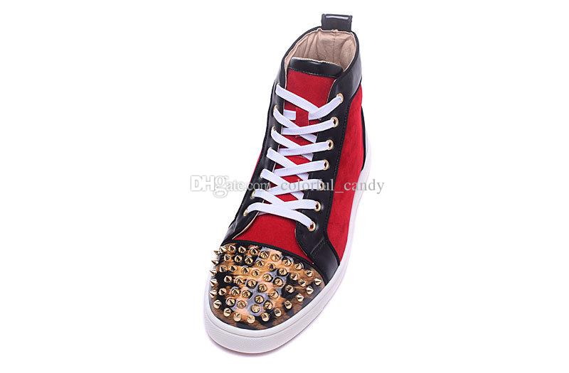 Red Bottom Sneakers Luxus Party Hochzeit Schuhe, Designer Echtes Leder Red Suede Spikes Leopard Print Wohnungen Trainer für Herren Damen