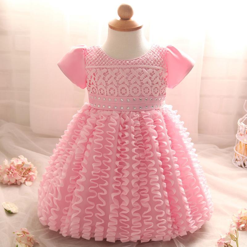 ab8800c36 Al por mayor-Ropa de niña pequeña Vestido de bautizo de encaje infantil  para niños Desgaste del partido Niñas Vestidos Chica Tutu 1 año Bebé de  cumpleaños ...