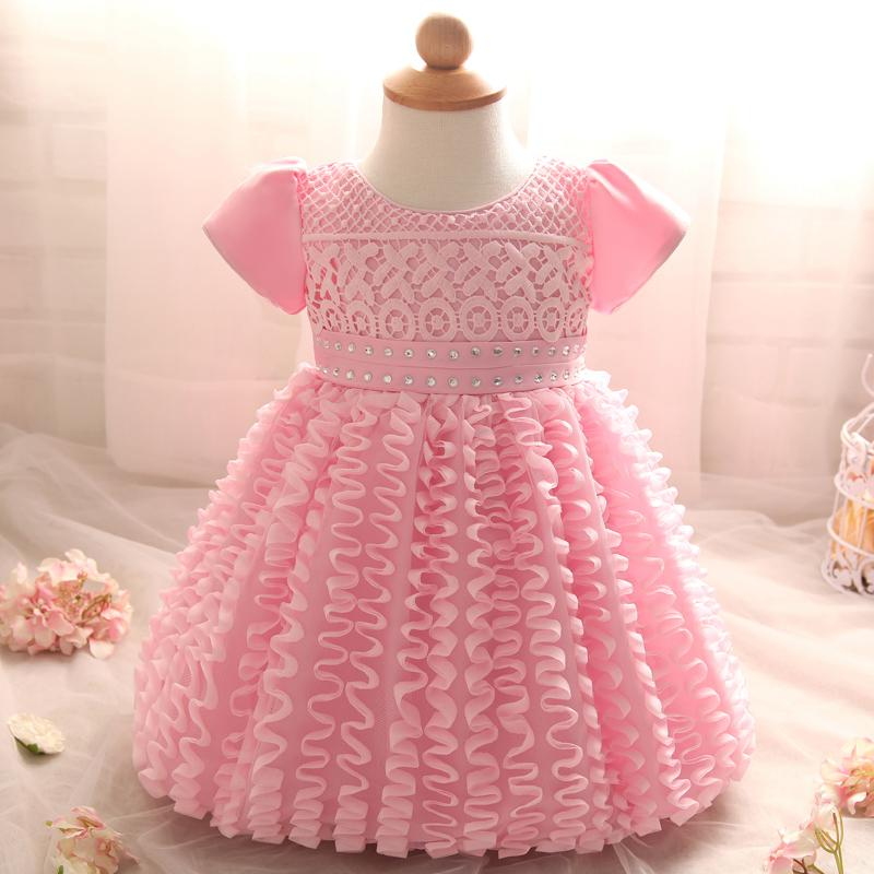 e3afef4ff 2019 Wholesale Toddler Girl Clothes Lace Christening Gown Infant ...