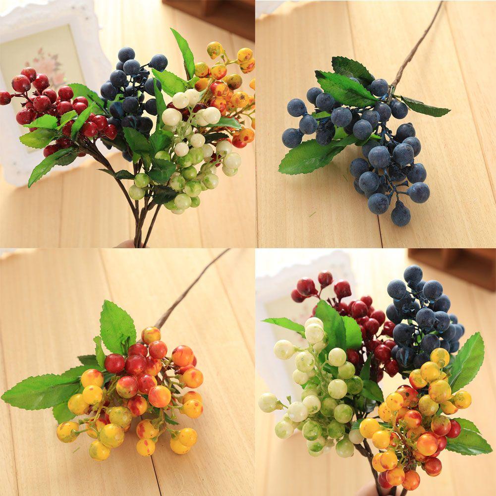 Wholesale High Quality Four Colour Berry Plants Silk Flowers Wedding
