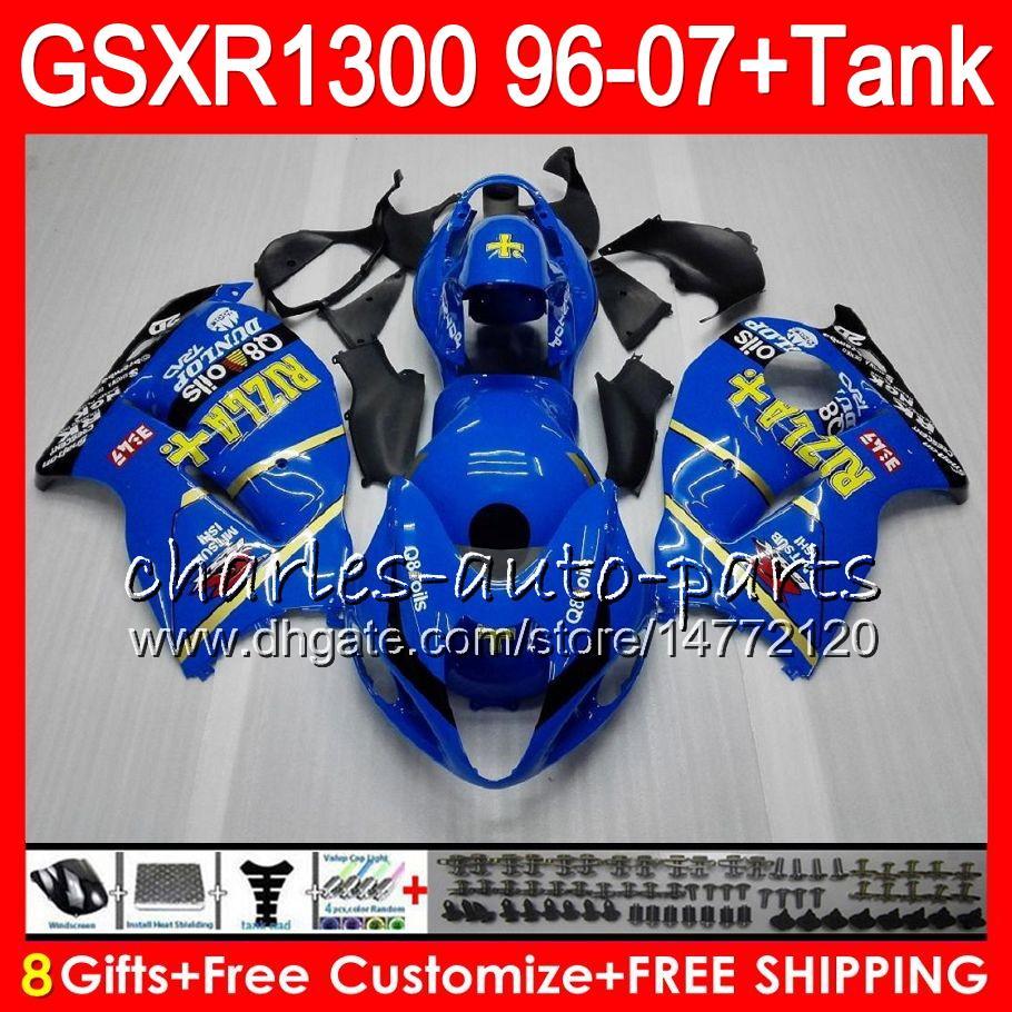 8Regalos es para SUZUKI Hayabusa GSXR1300 96 97 98 99 00 01 15HM35 negro azul GSXR 1300 GSX R1300 GSXR-1300 02 03 04 05 06 07 Carenado