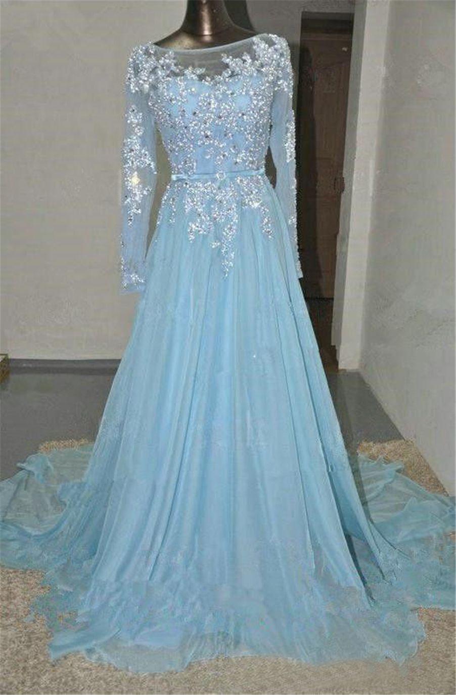 Sheer шеи кружева аппликация блестки шифон платье выпускного вечера для женщин голубые кристаллы вечерние платья с длинными рукавами арабский Большой размер