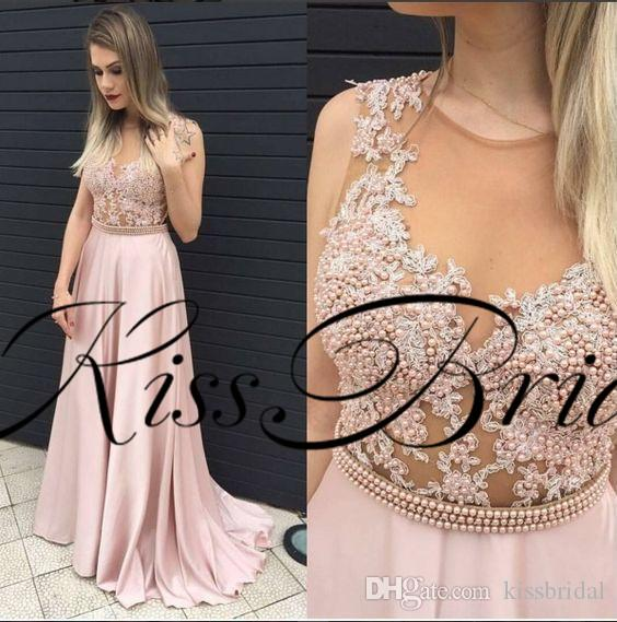 Blush Pink Prom Dresses Lace Pearls Illusion Nude Mesh Formal Evening Gowns Jewel Neck Silk Satin Niñas Vestidos de fiesta