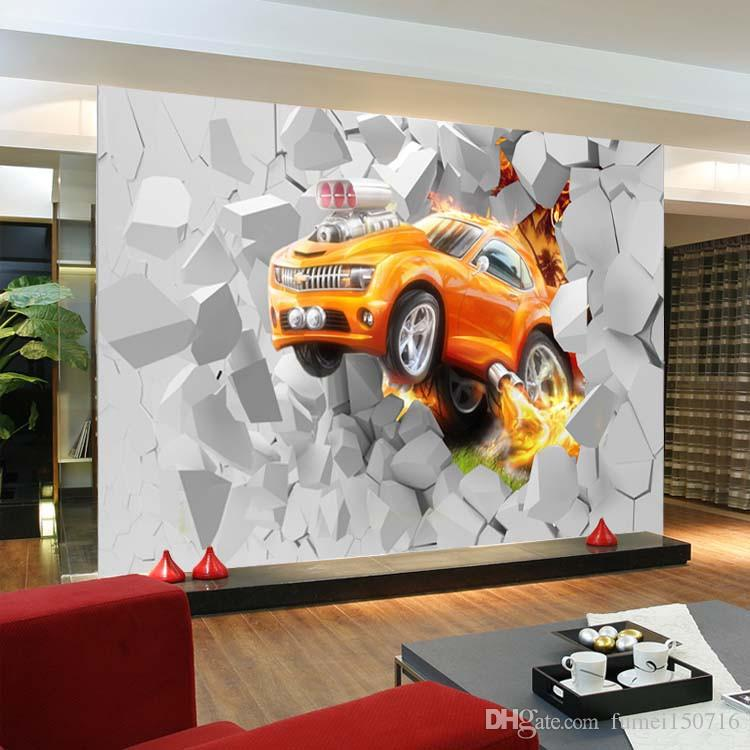 3d Large Mural Flame Car Modern Personality Simple Fashion Hd Voyage