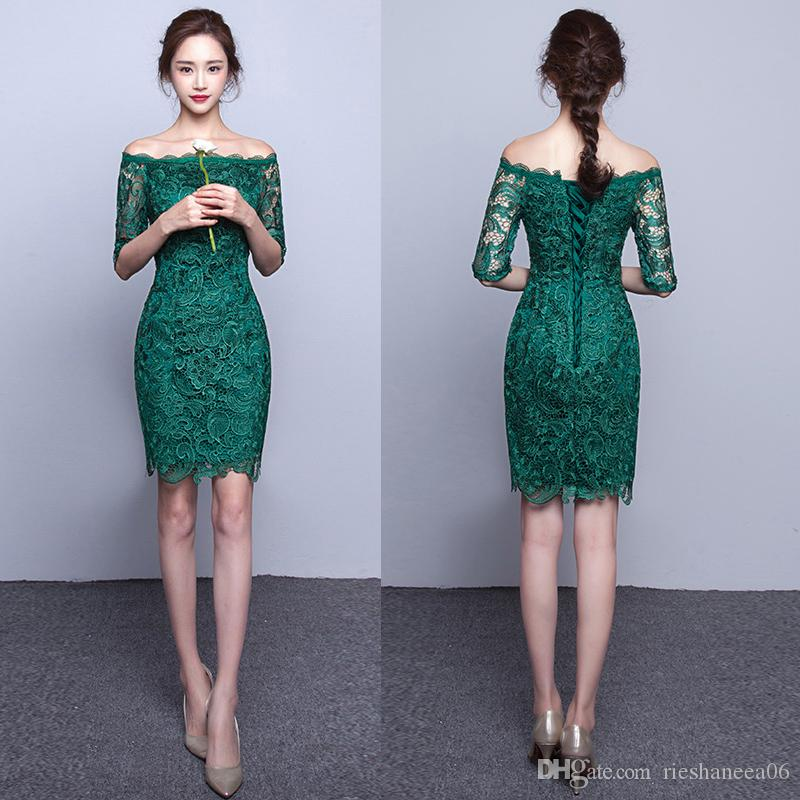 Elegant Lace Dark Green Sheath Cocktail Dresses Custom Made Off ...