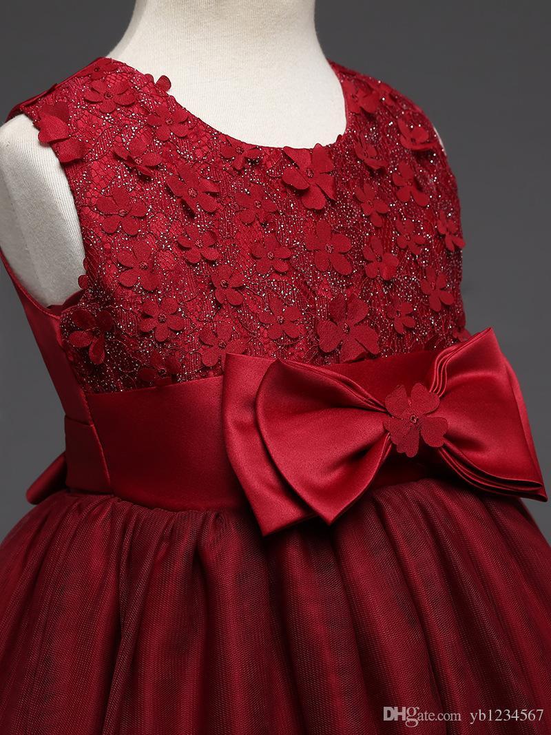 NOVAS crianças meninas pageant elegante vestido longo crianças vestidos de dama de honra do casamento da menina lace flor vestidos de festa de natal vinho vestidos de baile vermelho