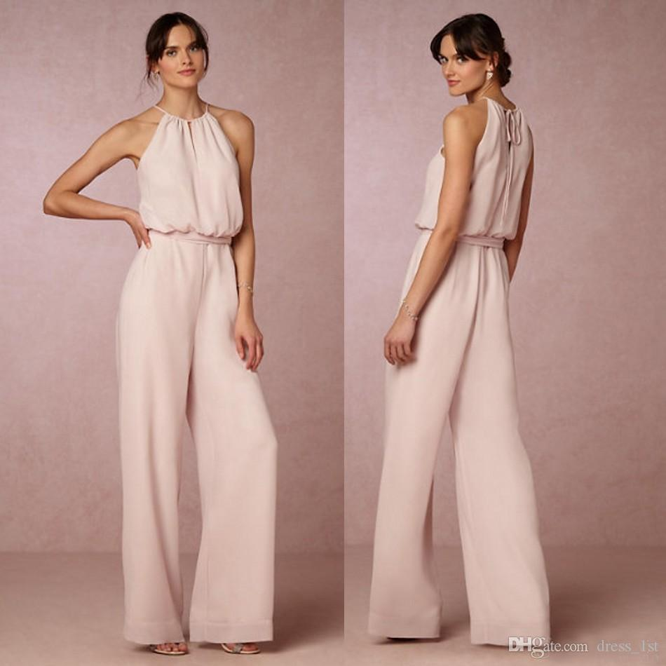 2017 latest pearl pink chiffon pant suit bridesmaid dresses long