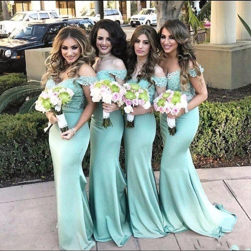 Simple Elegant Mint Green Mermaid Bridesmaid dresses Off Shoulder Lace Backless Prom Dress 2017 New Cheap Maid of Honor Dresses Custom Made