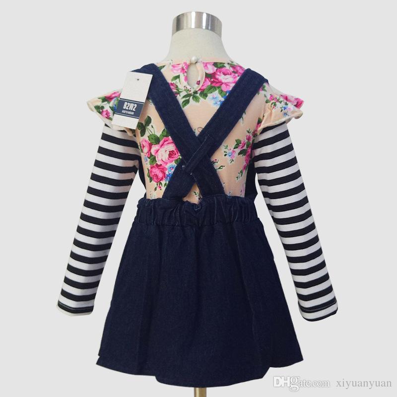 Yaz Kız Giyim Setleri Moda Pamuk Uzun Kollu Şerit T-shirt ve Tulum Elbiseler Kız Giysileri Sevimli Suits