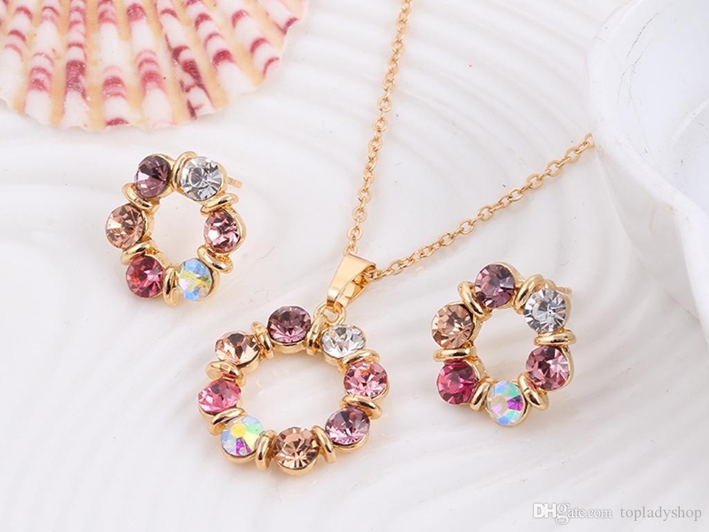 Circle jewelry set Europe and the United States wind colorful crystal jewelry ladies earring necklace set wholesale