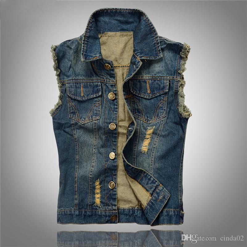 Chaleco de jeans rasgado de la chaqueta del dril de algodón de Corea mangas de los hombres Slim Fit 2018 Escudo nuevo estilo del verano de los pantalones vaqueros masculino 6XL1