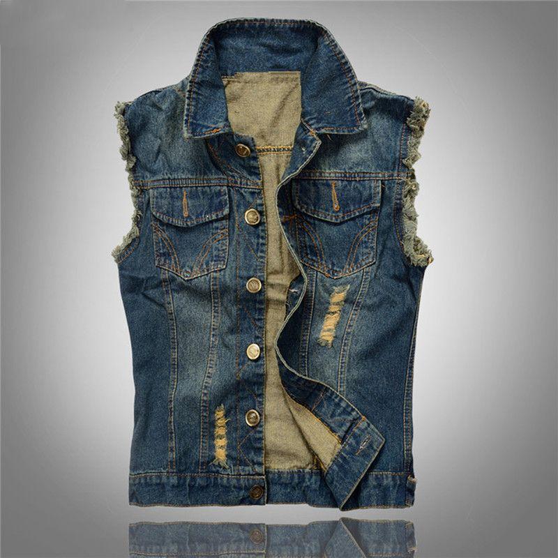 Koreanische Männer Jeans-Weste zerrissene Denim-Jacke Slim Fit ärmellos 2018 Sommer-neue Art Jeans männlicher Mantel 6XL1